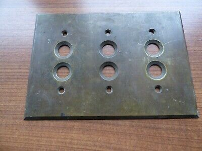 Antique Vintage Original Milled Brass triple Push Button Switch Cover Plate