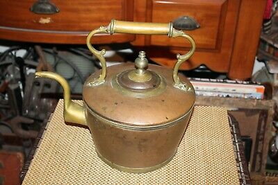 Large Antique Chinese Asian Copper Metal Teakettle Teapot Primitive Country