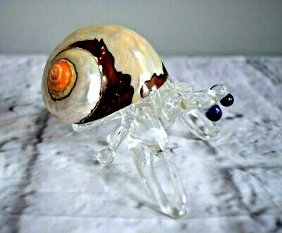 Art Glass Hermit Crab with Real Turbo Sea Shell Back Hand Blown Cobalt Eyes