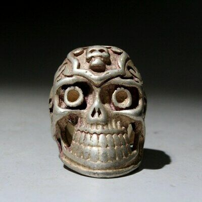 Collectable China Old Miao Silver Skull Head Beautiful Exorcism Interesting Ring