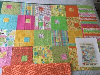 Colorful Juice Boxes Quilt Top Kit, Partially Precut, Some Finished Blocks, Twin