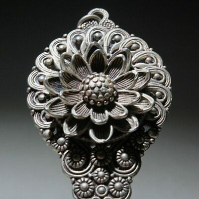 Collect Chinese Tibet Silver Hand-Carved Lotus Delicate Auspicious Girl Hairpin