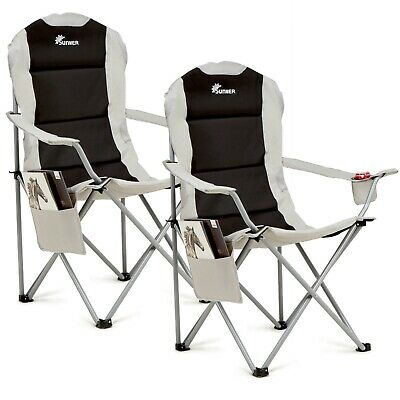 2 X Folding Camping Chair Luxury Padded Heavy Duty High Back Cup &Book Holder