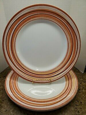 "3 Vintage Corelle Multi color Swirl 10.5"" Dinner Plates"