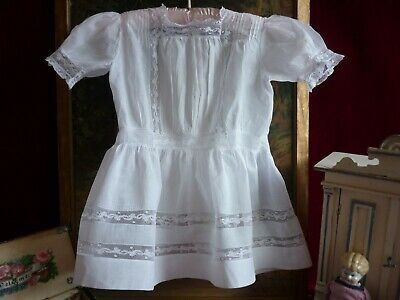 Lovely Antique/Vintage Girl's Muslin Dress Lace Inserts..