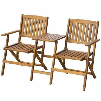 Solid Acacia Wood Folding Garden 2 Seater Bench Jack and Jill Chair