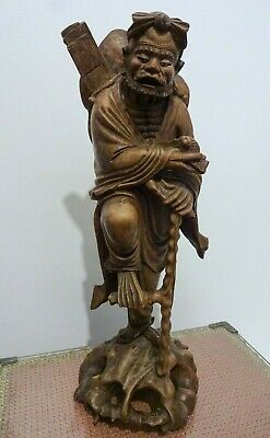 """Antique Wood Carved Chinese Scholar Carrying Snail Leaning on staff 18"""" Tall"""