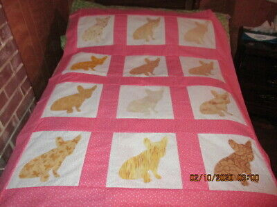 New 2020  French Bull Dog  Appliqued  Quilt Top 41X53
