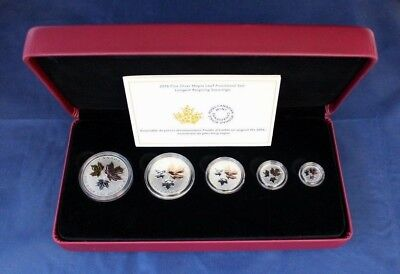 """2016 Canada Silver Proof 5 coin set """"The Maple Leaf"""" in Case with COA   (R10/14)"""