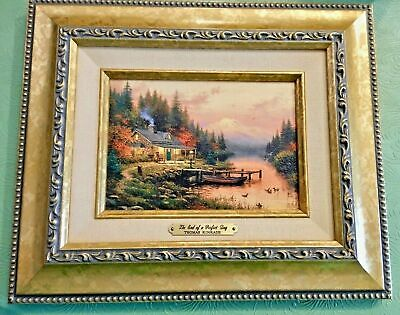 "Thomas Kinkade The End of a Perfect Day  5"" x 7"", Gold Frame, COA  (pre-owned)"