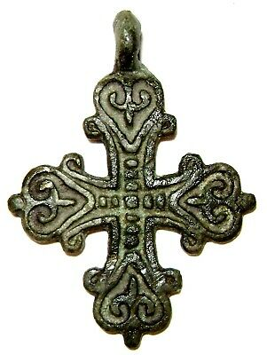 Ancient amazing Very Rare Vikings Age bronze cast cross pendant.