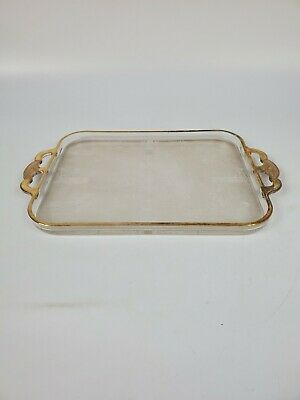 Vintage Glass Gold Embossed Serving Tray