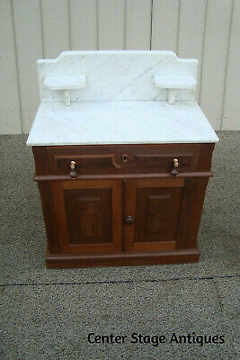 00001 Antique Victorian Marble Top Washstand