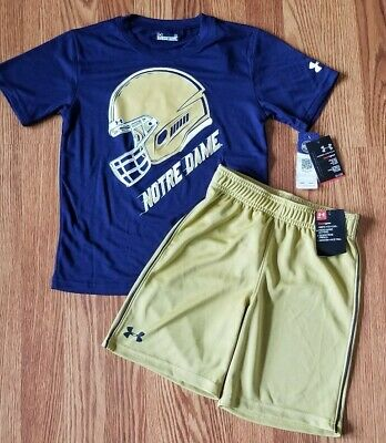 Under Armour Boys Notre Dame Football Shirt and Short Lot Size 6 NWT Gold Navy