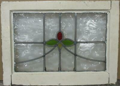 """OLD ENGLISH LEADED STAINED GLASS WINDOW Pretty Abstract Floral Sweep 20.5"""" x 15"""""""