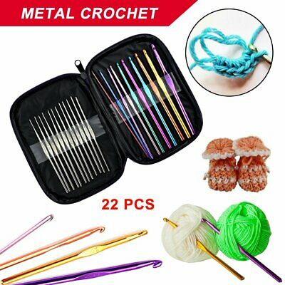 22 Size Multi Coloured Aluminium Crochet Hooks Yarn Knitting Needles Set RK