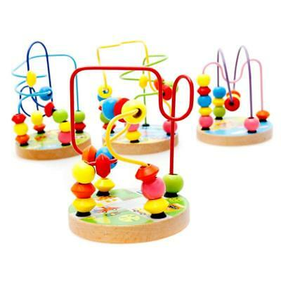 Novel Wooden Children Kids Baby Colorful Around Beads Educational Game Toys H