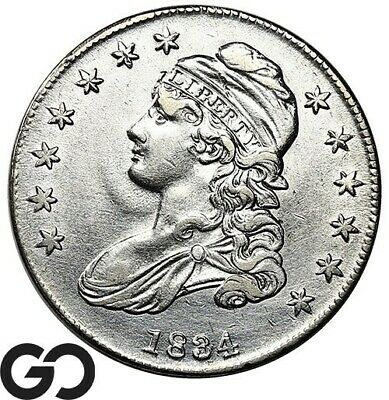 1834 Capped Bust Half Dollar, Blast White ** Free Shipping!