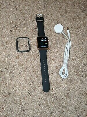 Apple Watch Series 3 32mm Gold Case, Space Gray band (GPS + Cellular)( Great)