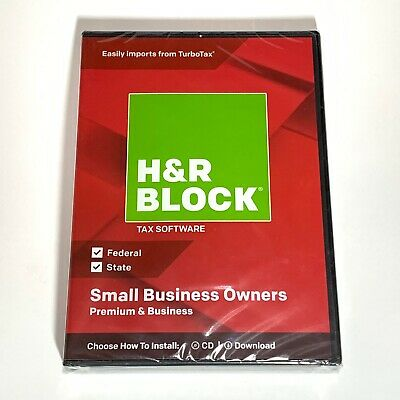 H&R Block Tax Software Small Business Owners Premium and Business 2018 CD New