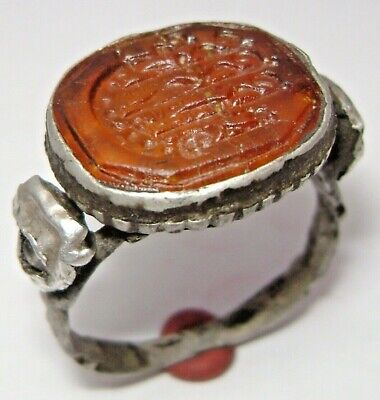 """Ancient Rare Medieval silver finger ring-seal with gemma """"Ship""""."""