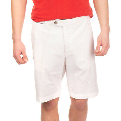 RRP €145 ZANELLA Chino Shorts Size 54 / 2XL Stretch Ivory Zip Fly Made in Italy