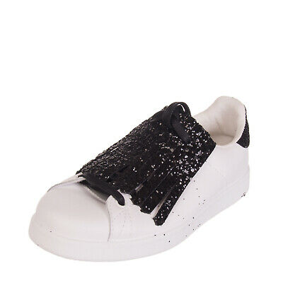 RRP €175 VICTORIA Leather Sneakers Size 36 UK 3 US 6 Glittered Fringe Trim