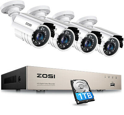 ZOSI 8CH 720P HDMI DVR Home Outdoor Security Bullet CCTV Camera System 1TB