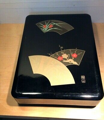 Retro Chinese Black Lacquer Box Gilded Fans  Jewellery Cosmetics Large Signed