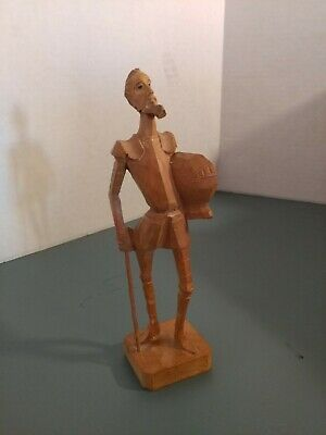 "Vintage Wooden Carved Don Quixote Figure knight statue 6 3/4"" wood Spain ouro"