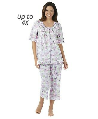 Cozy Ruffle PJ's Women's 2-Pc Pajamas Top Shirt & Capri Pants Lilac Purple XL