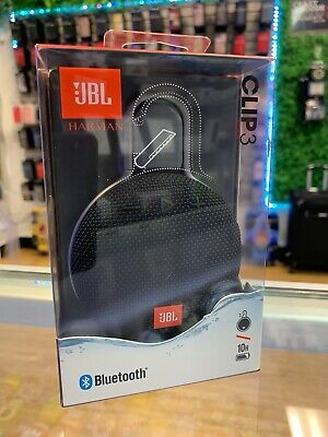 JBL Clip 3 Bluetooth waterproof speaker- black, carabiner, orange, bass, Harman