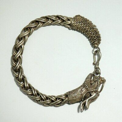 China Collecte Old Miao Silver Hand-Carvd Myth Dragon Auspicious Decor Bracelet