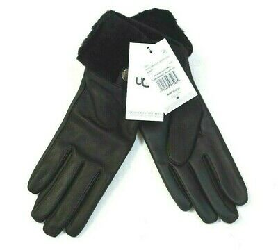 """NEW UGG Women's Black Shearling-Cuff Leather Tech Gloves Size Small """"$145.00"""""""