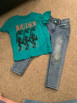 Next Boys Blue Jeans And Dinosaur Top Set Aged 3 Years