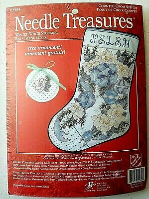 Needle Treasures Winter White Stocking Counted Cross Stitch Kit ornament flower