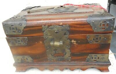 Vintage Oriental Chinese Wooden Jewelry Trinket Box