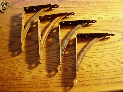 "4--  Vtg Old Industrial stamped  Steel PAIR Shelf Brackets 4"" X 5"""
