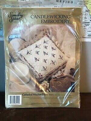 Something Special Candlewicking Embroidery Cathedral Window Pillow Complete
