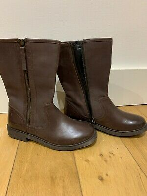Clarks Girls  Brown Leather Boots  Size 1.5 G ***NEW, UNUSED***