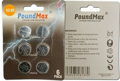 6 X PoundMax Super Mixed CR2032 CR2025 CR2016 3V Lithium Coin Cell Battery