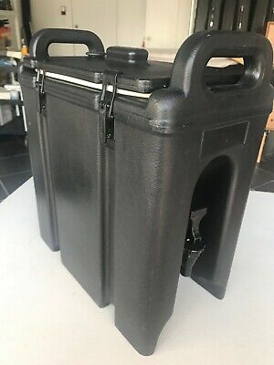 Cambro 250LCD110 Camtainers® 2.5 Gallon Black Insulated Beverage Dispenser.