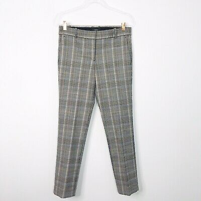 Theory Womens Size 4 Autumn Plaid Straight Trousers Pants Gray Black Orange Blue