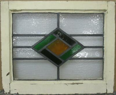 "OLD ENGLISH LEADED STAINED GLASS WINDOW Gorgeous Diamond Design 20.5"" x 16.75"""