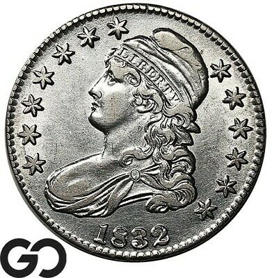 1832 Capped Bust Half Dollar, Small Letters, Choice AU Early Silver 50c!
