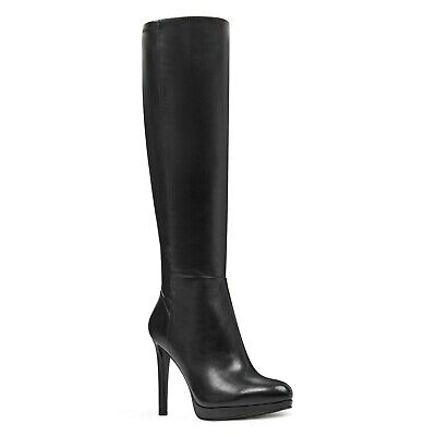 NEW in BOX Nine West BLACK LEATHER FESSUP Ankle Booties Stiletto Boots 12M