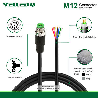 VELLEDQ IP67 M12 Connector Cable 8-Pin Male Pre-Wired 2M PVC Line For Industrial