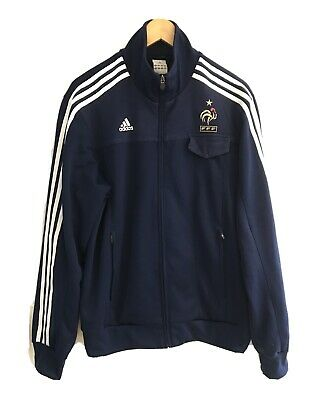 Men's ADIDAS Navy Blue FFF France Football zip Up Track Top 2007 Size L Large