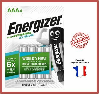 Piles Rechargeables AAA LR03 HR03 Energizer 800 mAh Extreme Accus Batteries X4