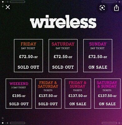 Pair Wireless Festival Tickets London 2020 Friday 3rd July Sold Out 100% Seller